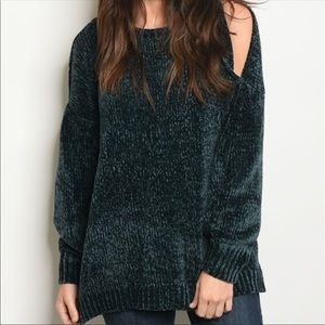 Sweaters - Cozy Teal Green Cold Shoulder Chenille Sweater